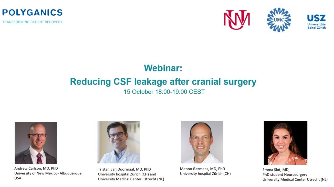 Webinar: Reducing CSF leakage after cranial surgery